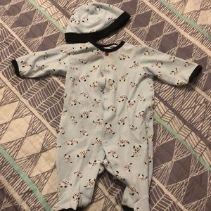 Dalmatian onesie with matching hat!